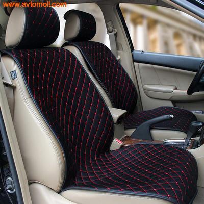 Накидка на сиденье автомобиля из Алькантары черного цвета.